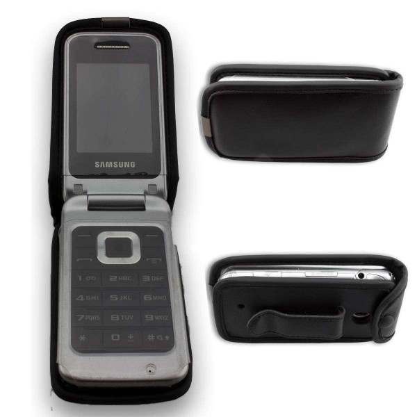 caseroxx Leather-Case with belt clip for Samsung GT-C3520i C3520 made of genuine leather, mobile phone cover in black