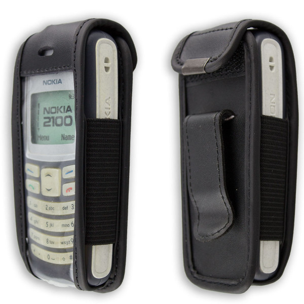 caseroxx Leather-Case with belt clip for Nokia 2100 made of genuine leather, mobile phone cover in black
