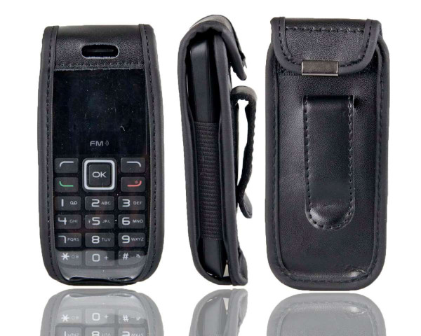 caseroxx Leather-Case with belt clip for Alcatel 1010D / 1010X made of genuine leather, mobile phone cover in black
